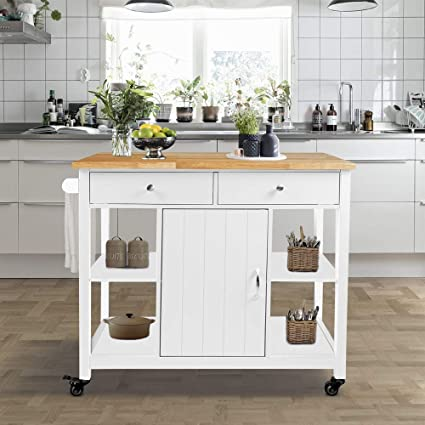 Choochoo Kitchen Cart On Wheels With Wood Top Utility Wood Kitchen Islands With Storage And Drawers Easy Assembly White