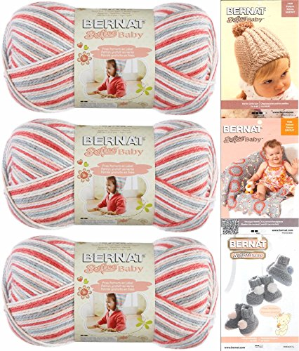 (Bernat Softee Baby Yarn 3 Pack Bundle Includes 3 Patterns DK Light Worsted (Princess Pebbles Ombre))
