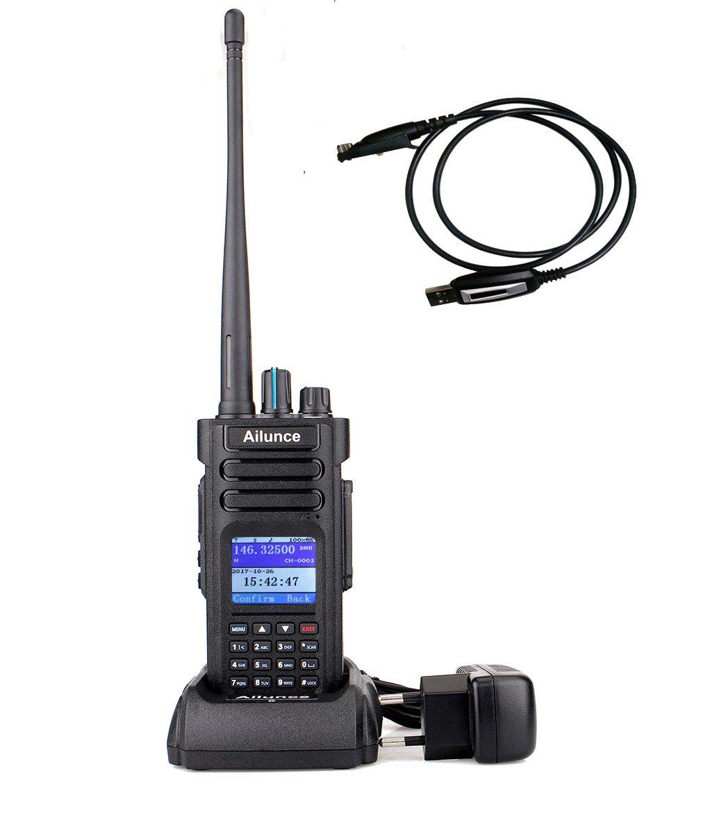 Ailunce HD1 DMR Radio Talkie Walkie Numé rique Double Bande FPP Radio Amateur UHF VHF 10W TDMA Compatible Radio DMR MOTOTRBO avec Câ ble de Programmation (Noir) Retevis EUA9131A-J9131P