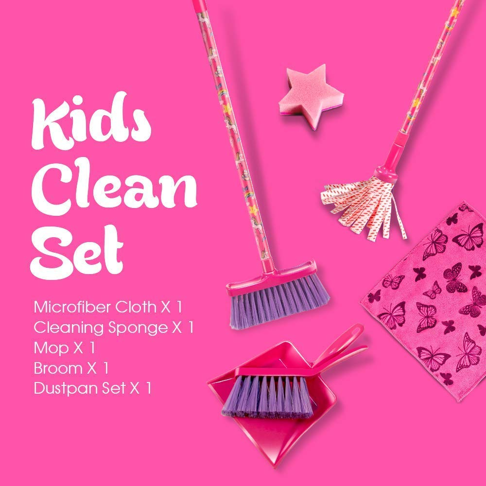 Masthome 6 PCS Household Toys for Children Kid Clening Set Include Broom Mop Dustpan Brush Sponge Cleaning Cloth Toys Teaching Children to Clean Up