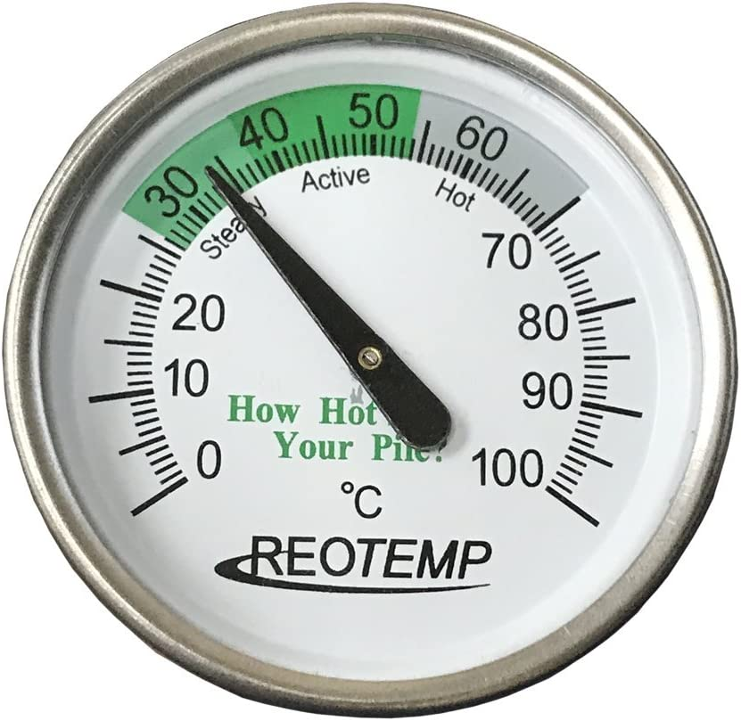 REOTEMP Backyard Compost Thermometer - 20 Inch Stem, with Composting Instructions (Celsius)