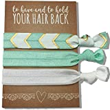 Jeune Marie 12 Pack Mint Ribbon Hair Ties KIT No Crease Elastics Handtied Ouchless Ponytail Holders Hair Band Bracelet Favors for Bachelorette Parties, Bridal Showers, and More! (12 Pack, Mint)