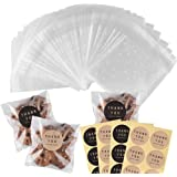 200 Pcs Self Adhesive Cookie Bags Cellophane Treat Bags Thank You Cookie Bags for Gift Giving with Stickers(4x6in)