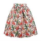 Killreal Women's Vintage Knee Length Flamingo Printed Casual Flare Pleated Swing Skirt Pink Medium