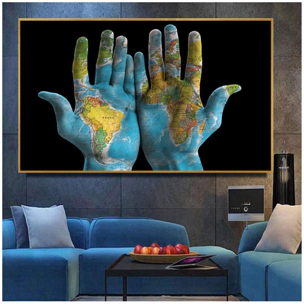 Mappa del Mondo di Arte nelle Mani Dipinti su Tela Poster e Stampe Wall Art per Soggiorno Moderna Decorazione Domestica No FRAME-70x105cmx1pcs-No Frame