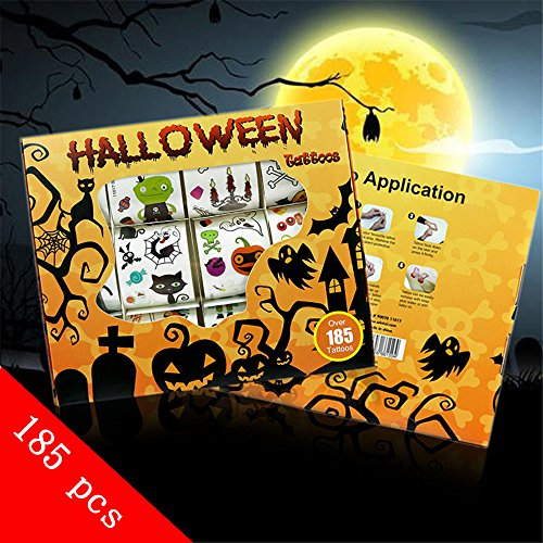 Over 185 Assorted Halloween Temporary Tattoo for Kids, Kalolary Children Temporary Stickers Scab Tattoo Stickers Waterproof Sticker for Cosplay or Halloween (Cute Witch Makeup For Halloween)