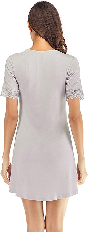 Hawiton Damen Nachthemd Baumwolle Damennachthemd Lang Tasche Nachthemden f/ür Damen Rundhals Streifen Tr/ägerkleid /Ärmellos Kleid Casual mit