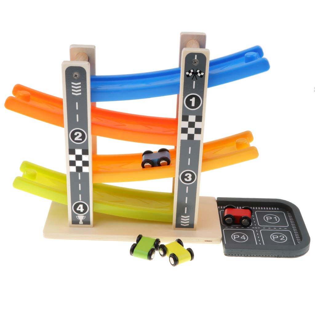 4 Mini Cars Wooden Race Track Car Ramp Racer Game for Kids Baby Preschool Toy SM SunniMix Toddler Car Toys for 1 2 Year Old