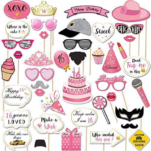 Sweet 16th Birthday Photo Booth Props (44Pcs) for Girls, Funny Sweet Sixteen Birthday Party Photo Props with Sticks,Pink Gold Decoration for 16th Birthday Party Favors Supplies for Girls ()
