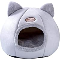 Enerhu Pet Nest with Removable Washable Cushion Plush Cave House for Dog Cat Sleeping M