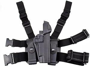 JINJULI Tactical Right Hand Thigh Holster Drop Leg Pistol Holster for Colt 1911