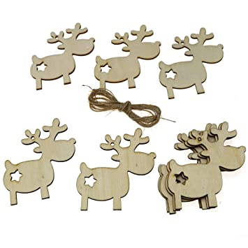 10x Holz Rentier Weihnachtsanhanger Baumbehang Christbaumschmuck