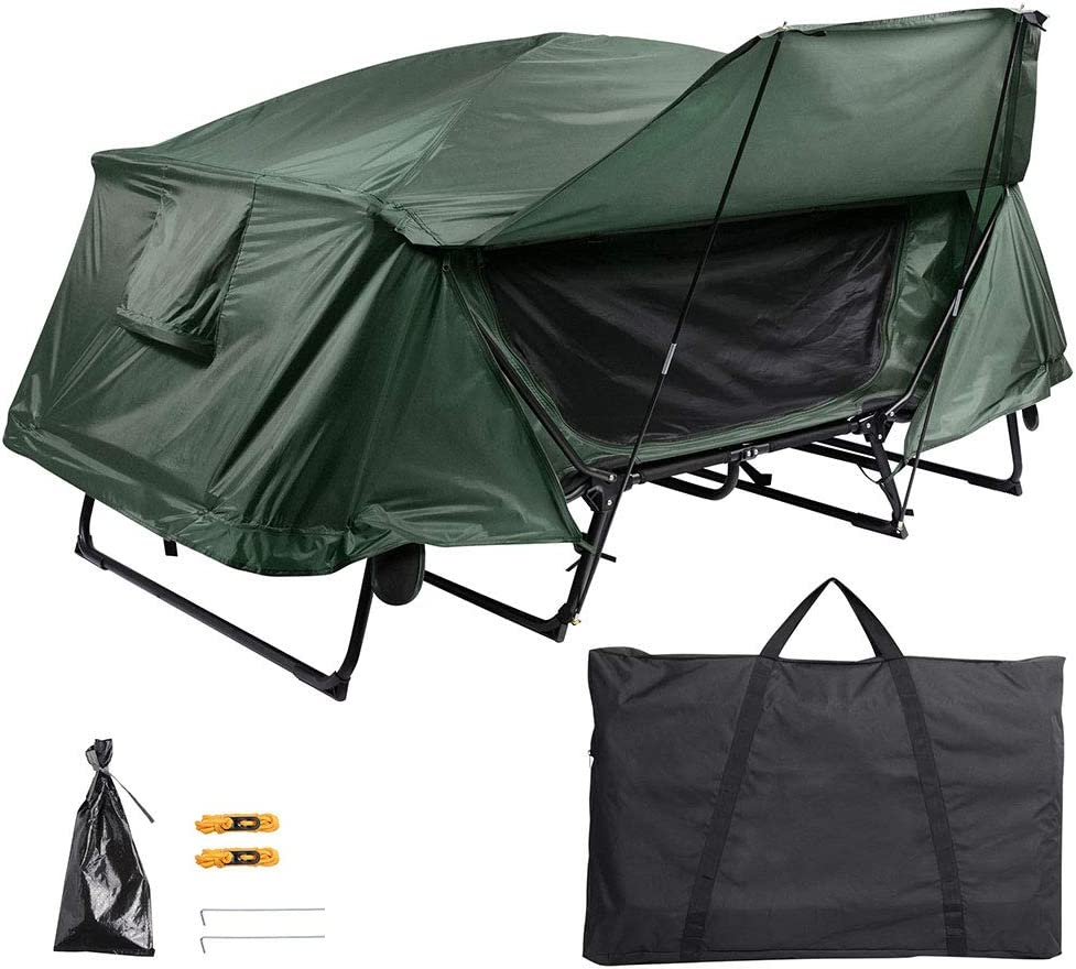 Green with Rain Fly Bag Yescom Double Tent Cot Folding Portable Waterproof Camping Hiking Bed for 2 Person