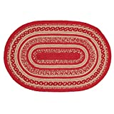 VHC Brands Christmas Classic Country Flooring - Cunningham Jute Red Oval Rug, 1'8'' x 2'6''