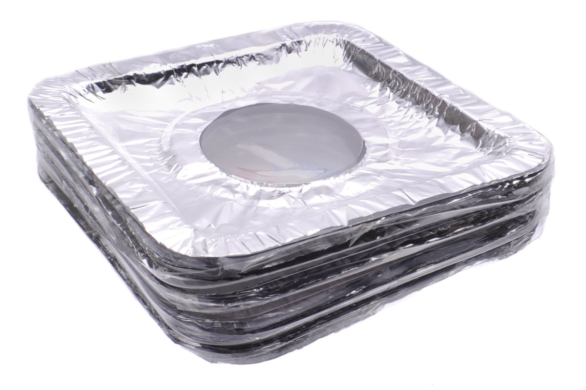 Aluminum Foil Square Gas Stove Burner Covers, Disposable Thicker Bib Liners Covers for Gas Top, Set of 500 Covers, 8-1/2 Inches x 8-1/2 Inches (Inner Circle 3-1/2 Inches)