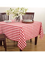 Fennco Styles Gingham Plaid Cotton Square Tablecloth 72 X72 Red