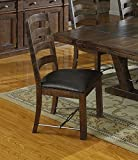 Emerald Home Castlegate Pine Brown Dining Chair with Upholstered Faux Leather Seat, Ladder Back, and Turnbuckle Bracing, Set of Two For Sale