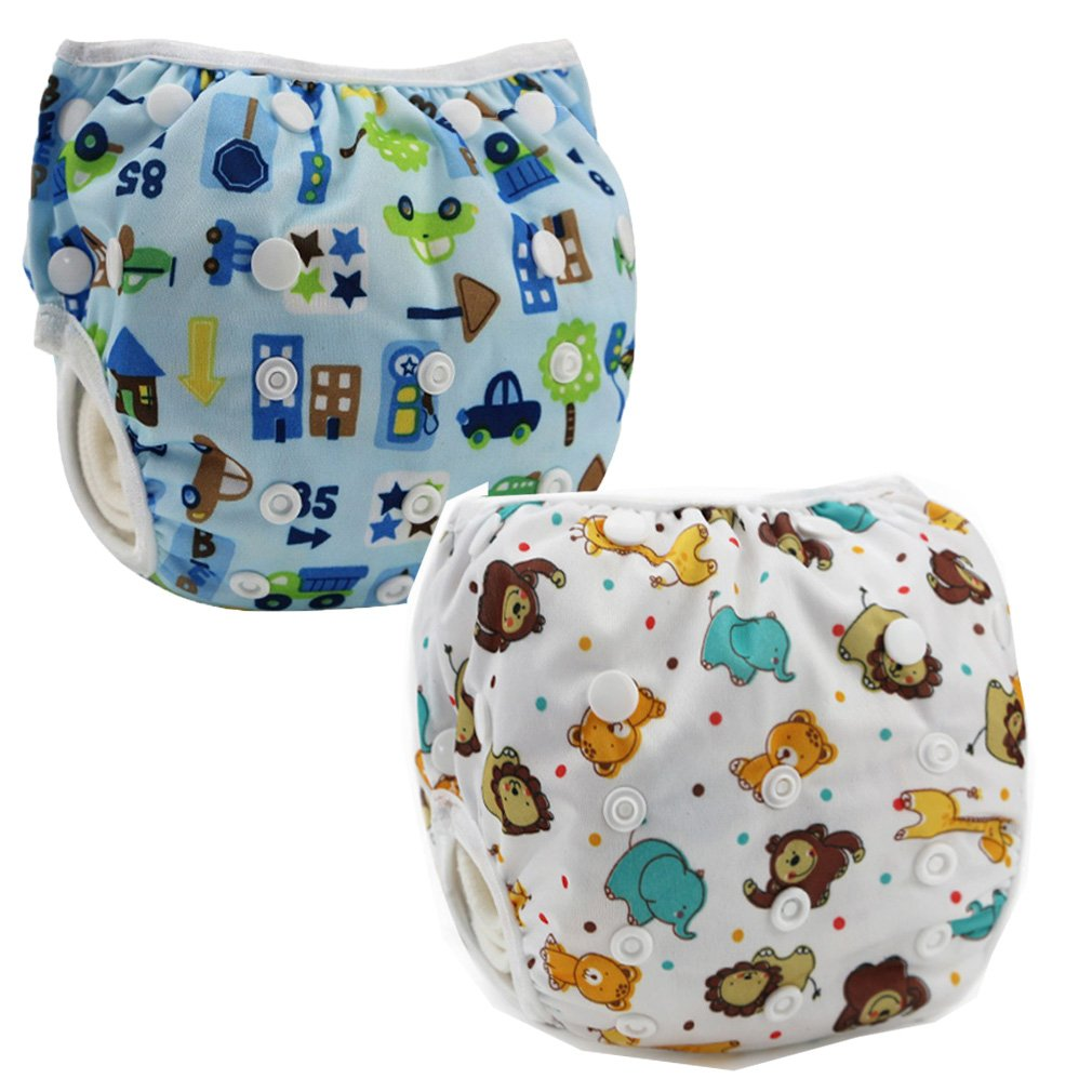 JT-Amigo Lot de 2 Couches de Bain Lavables Réutilisable, Set 2 Baby-SwimDiaper-Set2