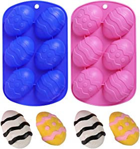 HomyPlaza Easter Egg Shaped Silicone Cake Mold, Trays Cooking Supplies for Chocolate, Candies, Ice Cube Trays Baking Molds, ( 2Pack )