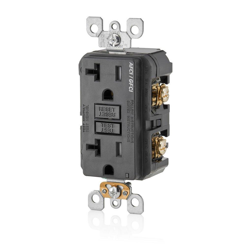 Leviton AGTR2-E SmartlockPro Dual Function AFCI/GFCI Receptacle, 20  Amp/125V, Black - - Amazon.com