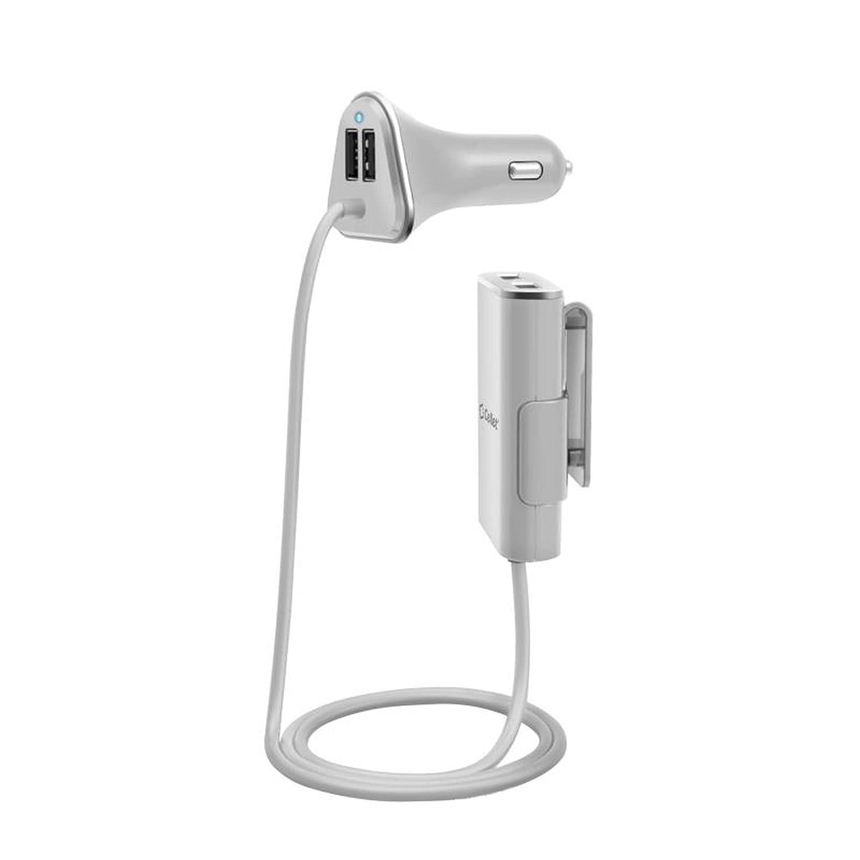 セルアクセサリーfor Less ( TM ) Celletの車の充電器4 USBポート/ 2.4amp for Front & Backseatホワイトfor LG Stylo 2 ls775バンドル(スタイラス& Microクリーニングクロス) – 買いによって B078FP2JMV