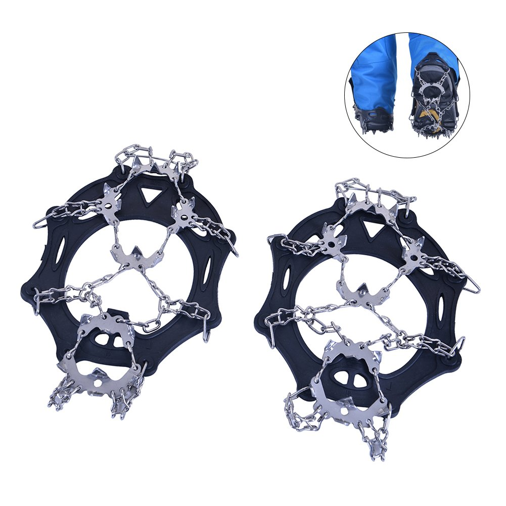 RUNACC Ice Snow Ground Antiskid Crampons Spikes Grips Traction Cleats for Walking, Jogging, or Hiking on Snow and Ice, Black (Stainless Steel)