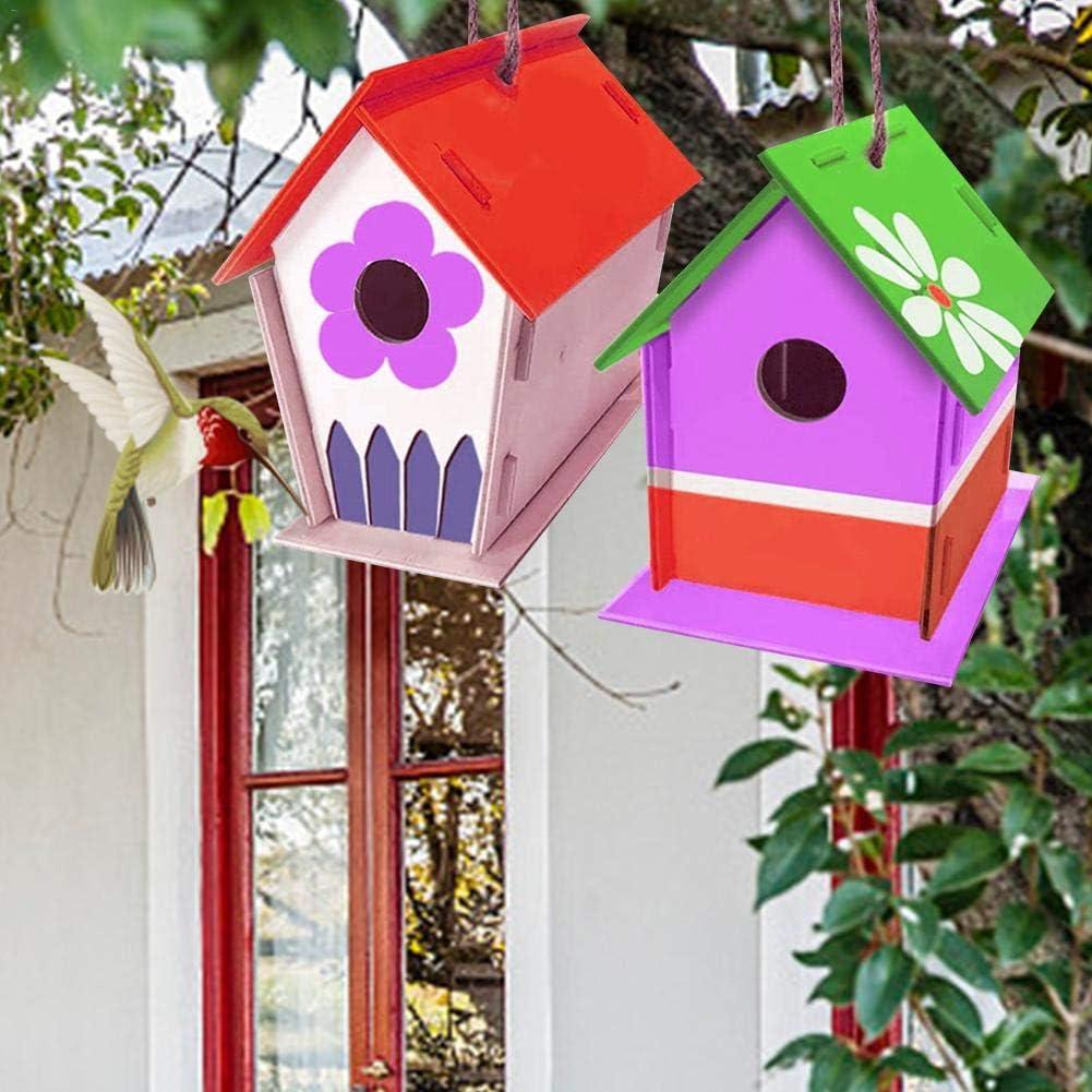 Fanlary perfecti - Pajarera de madera para niños, para colgar, comedero de madera con color y lápiz consistente