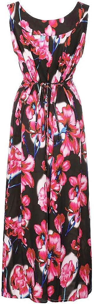 Oyedens Plus Size Dress for Women//Ladies,Fashion Women Casual Plus Size Floral Print Bandage Sleeveless Backless Dress