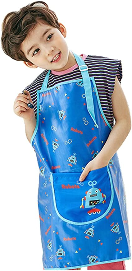 11-L Children Waterproof Painting Aprons 37colors Blue Star S~XLsize PLIE Kids Art Smock Sleeveless 37colors Age 1~8 Years