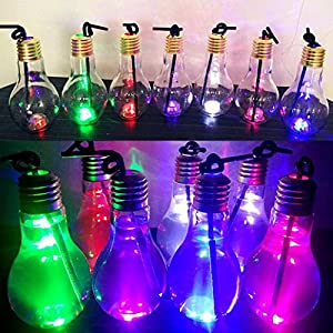 Matoen(TM) New Summer Glowing Bulb Water Bottle Cute Brief Fashion Cute Milk Juice Light Bulbs Cup Leak-proof (B)
