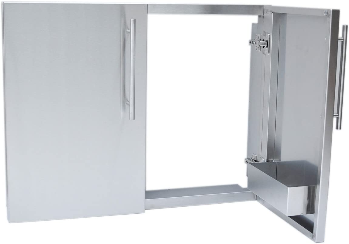 Stainless Steel SUNSTONE DE-DDP30 Designer Series Raised Style Double Door Dry Storage Pantry 30