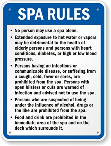 Nevada Spa Rules Sign, 30'' x 24'' by SwimmingPoolSigns