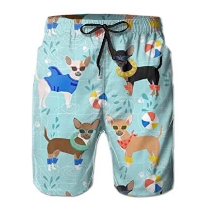 a7d5246ed3 MaoYTUI Chihuahua Pool Party Summer Floats Mens Swim Trunks Boys Quick Dry  Bathing Suits Drawstring Waist
