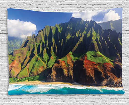 (Ambesonne Hawaiian Tapestry, Aerial View of Na Pali Coast Kauai Hawaii Mountain Cliff Seacoast Scenic Photo, Wide Wall Hanging for Bedroom Living Room Dorm, 80