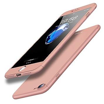 f7cf540349 iPhone ケース 全面保護 強化ガラスフィルム 360度フルカバー ローズゴールド iPhone6/6s