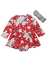 Canis Newborn Baby Girls Long Sleeve Red Floral Bodysuit Dress with Headband