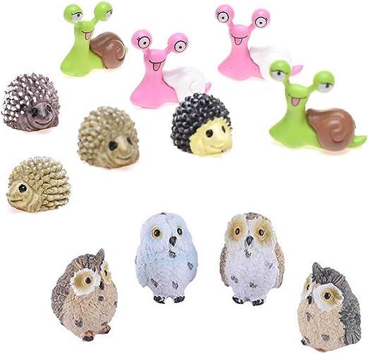 RAYNAG - Juego de 12 miniaturas de Animales para Jardines de Hadas, decoración de macetas de casa de muñecas (Color al Azar): Amazon.es: Jardín
