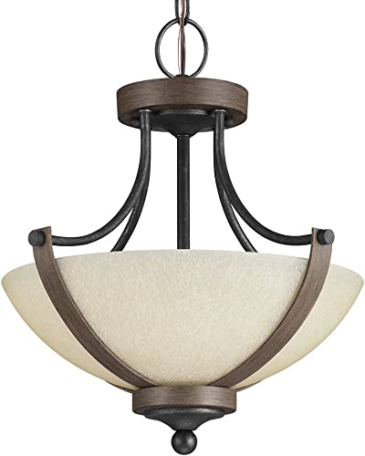 Sea Gull Lighting 7780402-846 Corbeille Two-Light Semi-Flush Convertible Pendant with Creme Parchment Glass, Stardust Finish