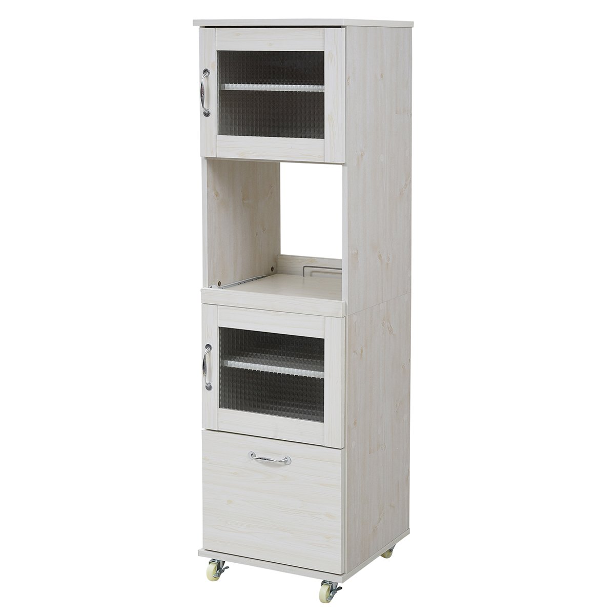 JKプラン スリム レンジ台 食器棚 レンジラック 幅 45 H156 キッチン 収納 隙間収納 棚 収納棚 スライド キッチンラック キッチン棚 ラック FLL-0066-WH B079N27DPR Parent ホワイト