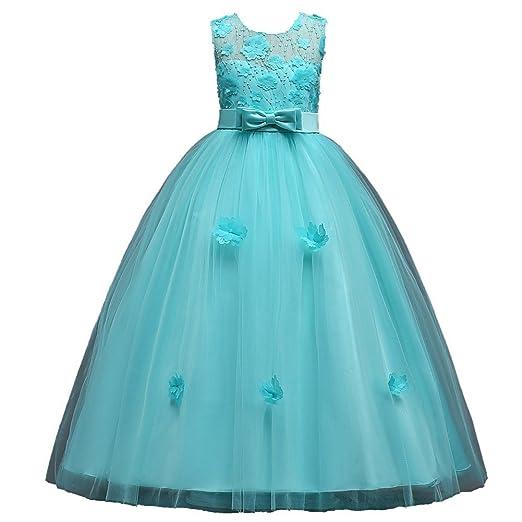 9b757306fec9 Amazon.com  Sunny Sep Little Big Girls Floor Length Flower Girl Lace ...