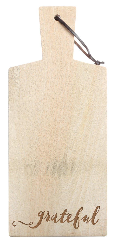 Grateful Script Design Unfinished 6 x 15 Inch Mango Wood Butcher Cutting Board