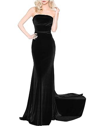 6cc58b6b466b CCBubble Women Mermaid Velvet Prom Dresses Strapless Long Evening Formal  Gowns-Black-2