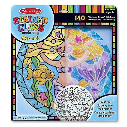 Melissa & Doug Stained Glass Made Easy Activity Kit, Arts and Crafts, Develops Problem Solving Skills, Mermaids, 140+ Stickers ()