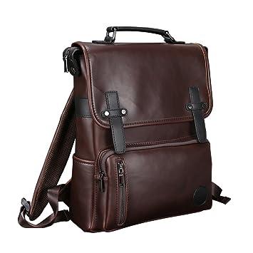 berchirly piel sintética mochila para hombre para ordenador portátil bolsa para Escuela Viajes Mochila café: Amazon.es: Deportes y aire libre