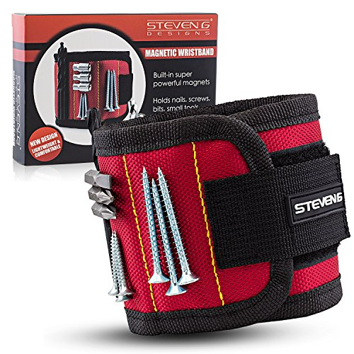 STEVEN G Magnetic Adjustable Size Wristband for Holding Screws, Nails, Drill Bits, Small Tools with 10 Strong Magnets Best Tool Gift for Professional or DIY Handy Man or Woman at Home or Work, Red - Steven Wrap