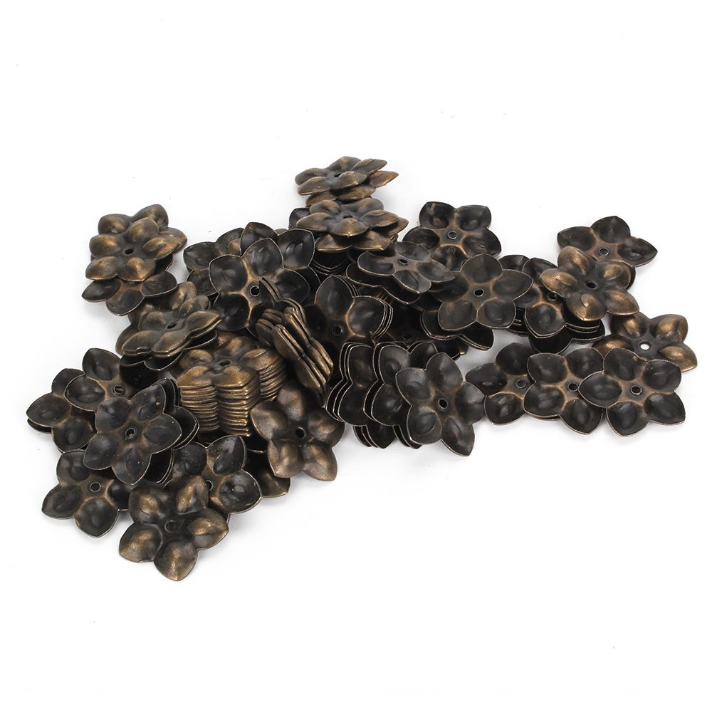 WEONE Replacement Plum Blossom Upholstery Nails Tacks Studs Pins Vintage Bronze Decorative (Pack of 100)