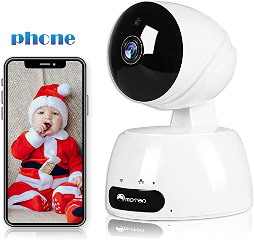 WiFi Security Camera, Indoor Camera, 1080P Pet Dog Camera with Phone App for Home Security Baby Camera with 2-Way Audio, Night Vision, Motion Track and Alerts, SD Card Storage, Works with Alexa
