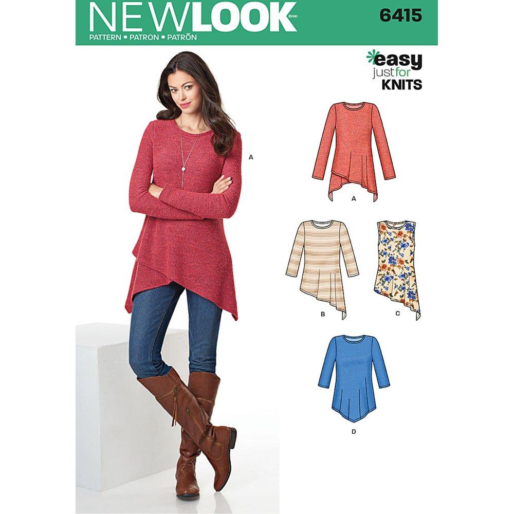 NEW LOOK Patterns Misses' Knit Tunics Size: A (XS-S-M-L-XL), 6415 OUTLOOK GROUP CORP UN6415A