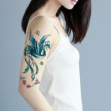ed7e8863c Amazon.com : TAFLY Blue Phoenix Temporary Tattoo Body Art Arm Tattoo  Stickers Waterproof Fake Bird of Wonder Look Real for Women 5 Sheets :  Beauty