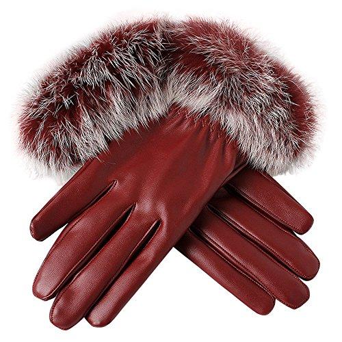 URIBAKE Women's Leather Gloves Winter Thermal Faux Rabbit Fur Outdoor Windbreak Driving Gloves Warm Mittens